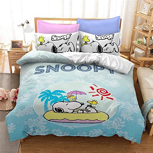 QWAS Snoopy - Funda nórdica para cama infantil, diseño 3D, sin ropa de cama, regalo para niños de alta calidad (V01,200 x 200 cm + 50 x 75 cm x 2)