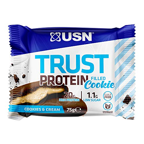 USN Trust Protein Filled Cookie Cookie and Cream Flavour, 12 x 75g Cookies