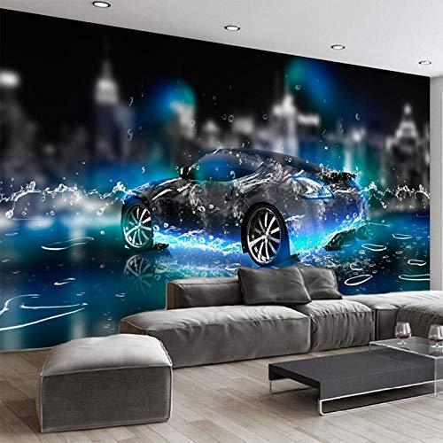 Papel pintado tejido no tejido Coche de deportes acuáticos azul negro vinilos pared fotomurales decorativos pared para Sala de Estar Habitación Cocina Fondo de TV 400x280cm