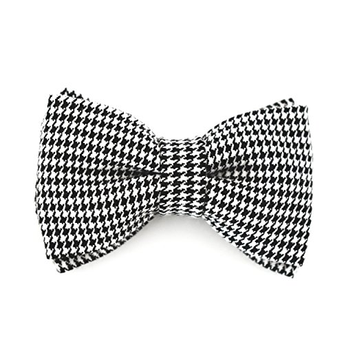 Black and White Bow Tie Clip On Fits Baby Toddler Boy Handmade (One Size Fits All) Houndstooth Pattern Bow Tie - by Blossom Design