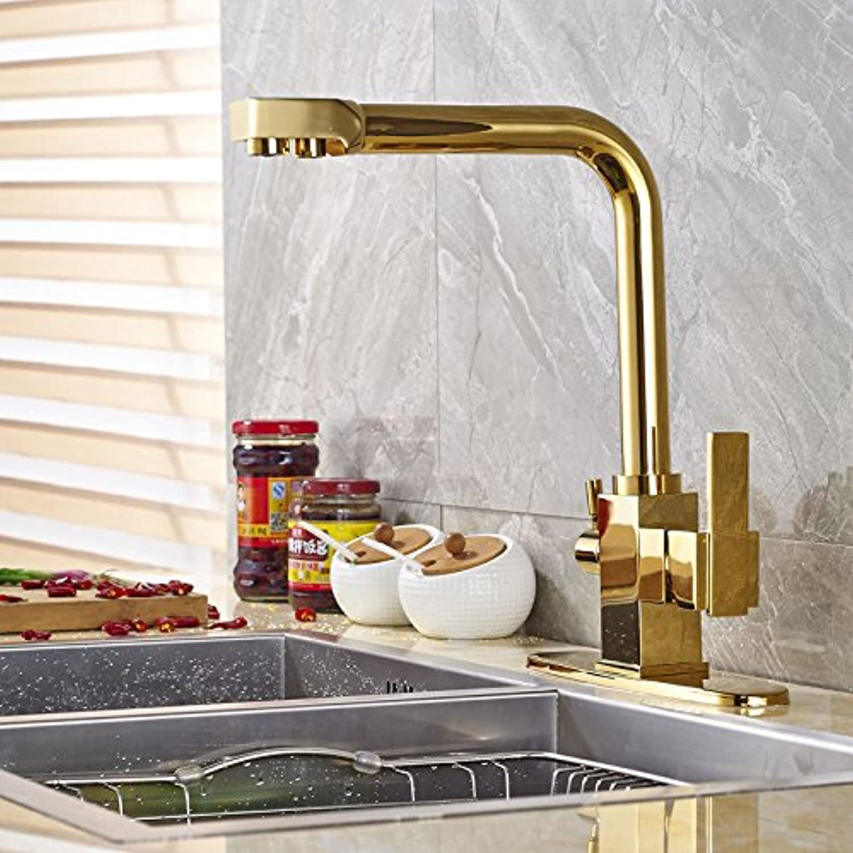 YFF@ILU Schwenkbarer Auslauf Mischbatterie Küche Spüle Wasserhahn ein Loch Dual Griff Gold mit Platte