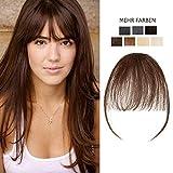 Clip in Pony Extension 100% Remy Echthaar Fringe Haarteil Haarverlängerung Glatt Mittelbraun#4