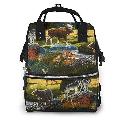GXGZ Mountain Wildlife Nature Bear Moose Diaper Bag Sac à dos étanche Multi-Function Baby Changing Bags Maternity Nappy Bags Durable Large Capacity for Mom Dad Travel Baby Care