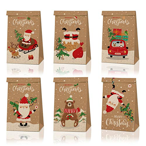 24pcs Christmas Gift Bags, Xmas Craft Paper Gift Wrapping Bags with Assorted Christmas Prints for Xmas Party Favors Small Gifts Present Party Supplies Holiday Christmas Decorations
