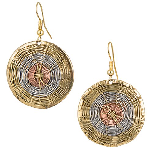 Handmade 3 Toned Basket Weave Earrings | SPUNKYsoul Collection (Round)