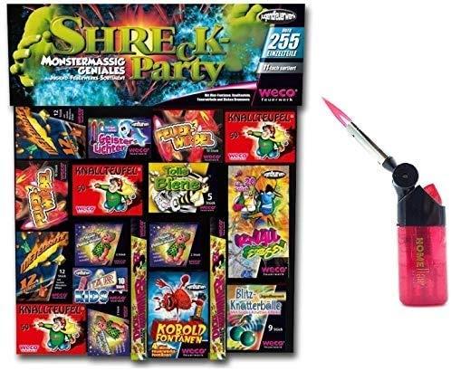 250 Teile - Shreck Party - Feuerwerk Kinderfeuerwerk + 1 Profi Sturmfeuerzeug von Home Flair®