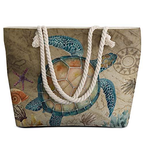 Sleepwish Extra große Damen Strandtasche aus Segeltuch mit Reißverschluss Oben und wasserdicht, geräumige Sommer-Handtasche mit trendigen Design für Frauen, schildkröte (Weiß) - SSD0116679028