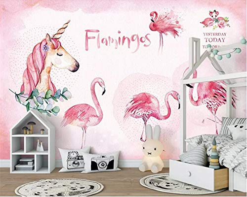Papel pintado personalizado, 3D, diseño de flamenco, rosa y unicornio, para pared