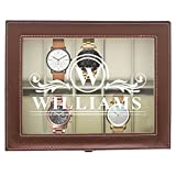 Engraved Watch Box for Men - Personalized Gifts for Him - Custom Husband Boyfriend Gift (Brown)