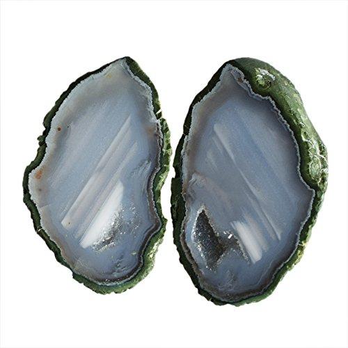 Par de gemas de ágata pequeña, de increíble calidad, para hacer joyas, para bebé, mini geoda Druzy AG-10513