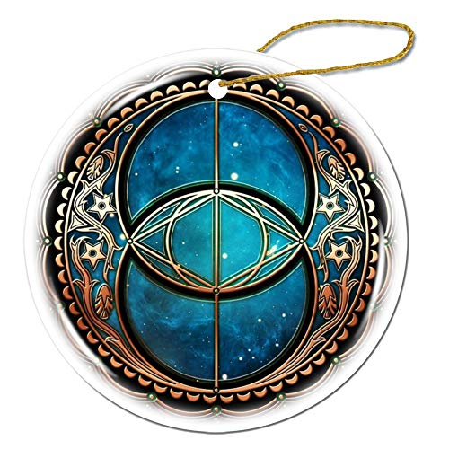 Vesica Piscis, Chalice Well Symbol, Avalon, Celtic, Magic Round Decorative Hanging Ornament For Christmas Tree, Porcelain, 3-Inch