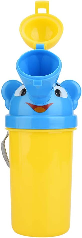 Hoseten Portable Urinal Potty, Hanging Strap Design Reusable Pee Cup, Travel Leakproof Kids for Baby(Yellow, Prince)