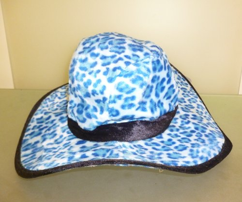Adult Blue Leopard Print Velvet Feel Fancy Dress Hat -70's/80's, Gangster (HW71)