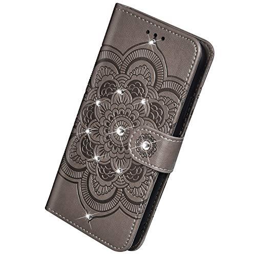 Herbests Kompatibel mit Huawei Mate 30 Pro Handyhülle Handytasche Mandala Blumen Muster Leder Hülle Strass Diamant Bling Glitzer Glänzend Schutzhülle Flipcase Hülle Kartenfächer Magnet,Grau