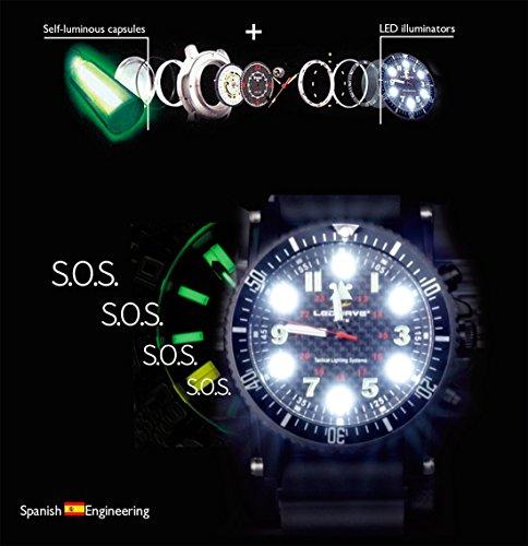 Ledwave Night Eyes II SS Reloj Táctico LED con Cápsulas de Tritium de Caza, Unisex...