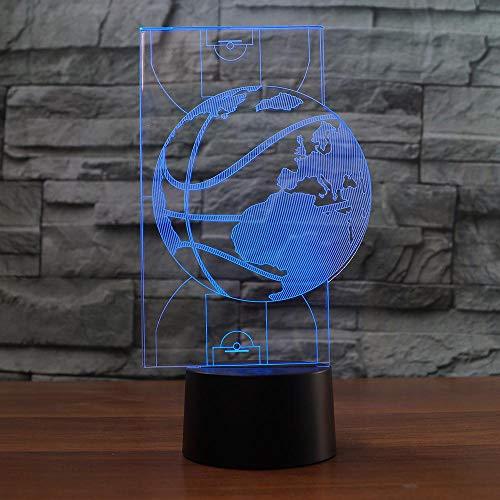 YNYEZBH Luces de Colores 3D Mapa de Baloncesto Abstracto Iluminación LED para Dormitorio Luz de Noche Atmósfera Luces Fantasmas Cumpleaños para niños