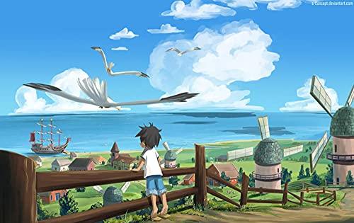 JUHAO Pintura De Diamante 5D Para Adultos-Póster Anime One Piece Young Luffy-Adecuado Para Actividades Entre Padres E Hijos, Decoración Del Hogar, Regalos Únicos