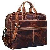 STILORD 'William' Businesstasche Leder groß XL Lehrertasche Aktentasche 15,6 Zoll Laptoptasche Bürotasche Ledertasche Vintage Umhängetasche Echtleder, Farbe:Kara - Cognac