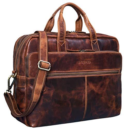 STILORD 'William' Business Bag Men Leather Briefcase College Bag Shoulder Bag Satchel XL Vintage 15.6 inch Laptop Bag Large Working Bag Office Bag, Colour:Kara - Cognac
