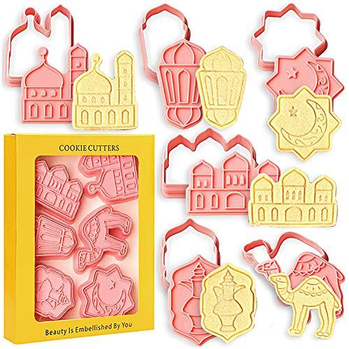 SQHOHO Eid Mubarak Cookie Cutters 6 PCS Ramadan Islamic Muslim Biscuit Mold, Mosque, Lantern, Camel, Star, Moon, Islamic Star