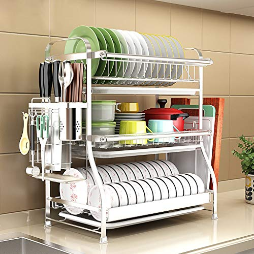Dish Rack, 3-layer Kitchen Supplies To Dry, Wash And Drain Dish Racks, 304 Stainless Steel Cutlery Storage Rack, Silver (Size : 30cm54cm62cm)