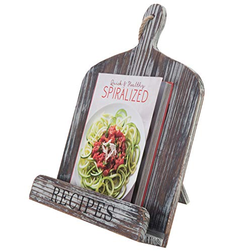 MyGift Torched Wood Cutting Board Design Recipes Cookbook Holder with Kickstand