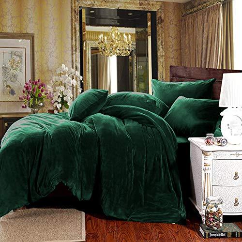 Michorinee Winter Plüsch Bettwäsche Set 220x240 Cashmere Touch Flauschig & Warme Coral Fleece Uni Bettbezug mit Reißverschluss - Dunkelgrün | 220 x 240 cm + 2 x 80 x 80 cm
