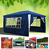 wolketon Pavillon Wasserdicht Gartenpavillon mit Seitenwände Polyethylen Bierzelt Tür mit Reisverschluss für Garten Party Hochzeit (3x4M, Blau)
