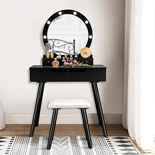 VINGLI Black Vanity Table Set with 8 Lighted Bulbs, Girls Makeup Vanity with Large Round Mirror, Dressing Desk with Drawers and Cushioned Stool in Bedroom/Living Room/Bathroom