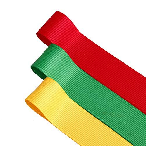 Neotrims Special Edition Lot de 3 rubans gros grain Jaune or/vert émeraude/rouge coquelicot 25 mm
