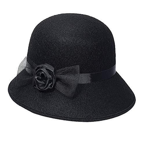 WIDMANN 68577Adulto Sombrero Charleston, mujer, Negro , color/modelo surtido