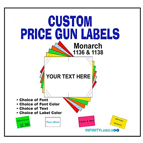 CUSTOM PRICE GUN LABELS - Customizable Monarch 1136 compatible labels to fit all Monarch 1136 price guns. Full case + 8 ink rollers (you choose the colors, font and text)