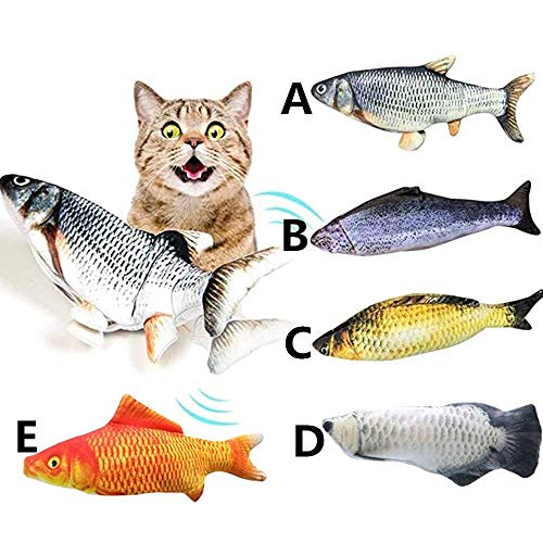 Zedco Flippity Fish cat Toy Moving with Realistic Tail Wagging,Interactive cat Toy, Catnip Toys for Indoor Cats for Kittens, (ABCDE Set)