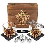 Whiskey Stones Gift Set - Heavy Base Glasses For Scotch Bourbon Drinker- Whisky Rocks Chilling Stones in Gift Box - Burbon Gift Set for Men - Idea for Birthday, Anniversary, Fathers Day