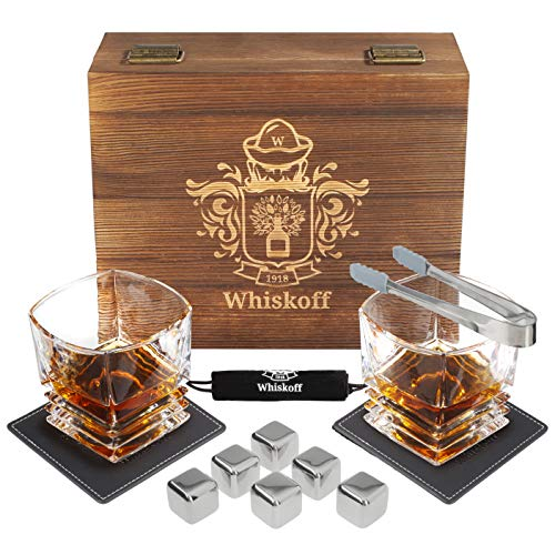 Whiskey Glasses Set - 6 Stainless Steel Reusable Ice Cubes