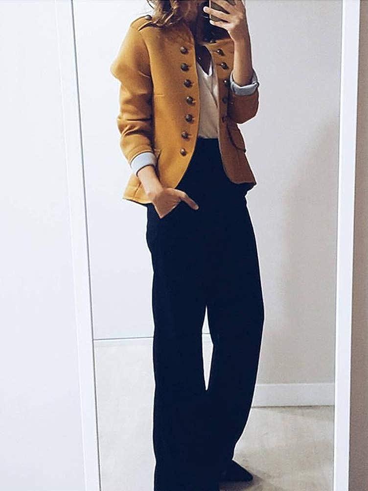 Tomwell Blazer Damen Elegant Anzugjacke Mantel mit Knopfleiste Military Blazer Lang Blazer Slim Fit Blazer Freizeit Stehkragen Business Büro Anzug Jacken A Gelb