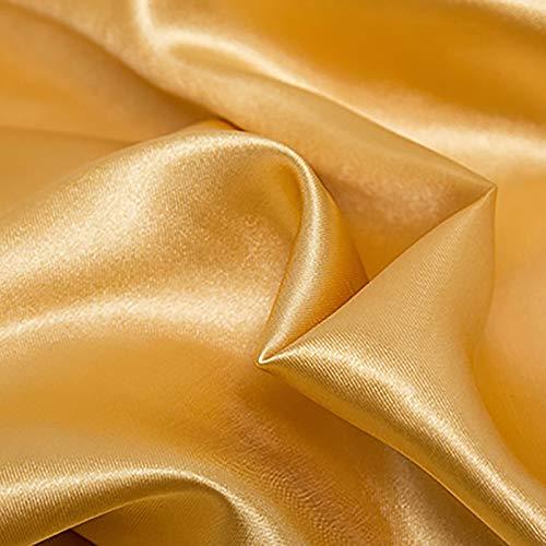 MUYUNXI Tela De Raso Forro De Tela para Vestidos De Novias Fundas Artesanías Vestidos Blusas Ropa Interior 150 Cm De Ancho Vendido por 5 Metro(Color:Dorado)