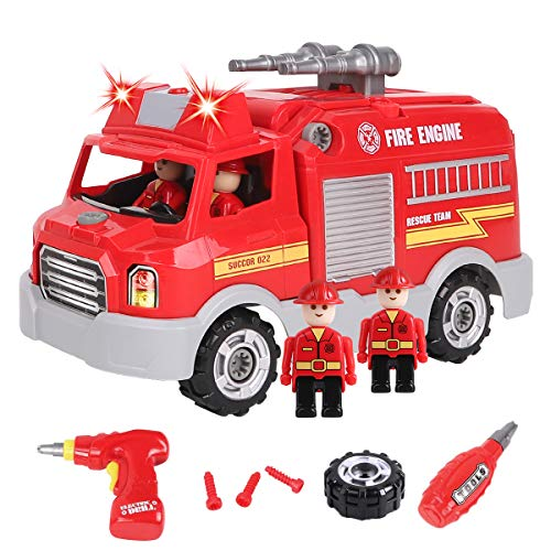 REMOKING Toys for 3 4 5 6 Year Old Boys,32Pcs Fire Engine Toys with Lights&Sounds&Electric Drill, Construction Take Apart Car Toy,Build Your Own Fire Vehicle,Educational Games for 3 - 8 Year Olds Kids