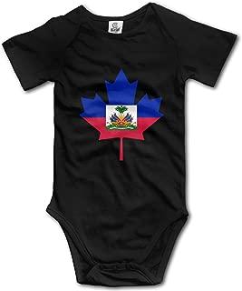 Haitian Flag Canada Maple Leaf Baby Unisex 100% Organic Cotton Romper Jumpsuit 0-24 Months