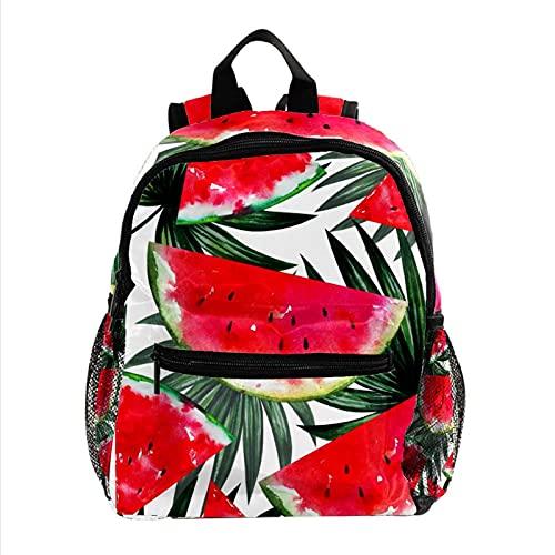 Mochila para niños, mochila escolar para estudiantes, diseño de estrellas sobre fondo verde, Aquarelle Pastèque Rouge Été, 25.4x10x30 CM/10x4x12 in,