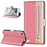 Funda de piel compatible con iPhone 8 Plus/7 Plus, estampado elegante de encaje, lazo, correa de piel sintética, con función atril, color oro rosa