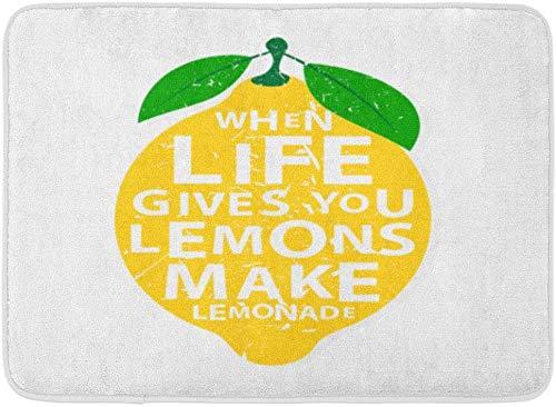 AdaCrazy Gelbe Früchte Wenn Leben Ihnen Zitronen Machen Sie Limonade Motivations Zitat Beschriftung Zitat Hintergrund Musterflanell verhindern Schleudern super saugfähigen 3D Drucks 60x40cm