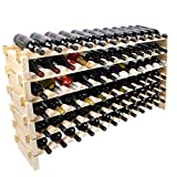Wine Rack Pine Wood 72 Bottle Capacity Stackable Storage Stand Display Shelves, Wobble-Free, Thicker Wood, (72 Bottle Capacity, 6 Rows x 12)