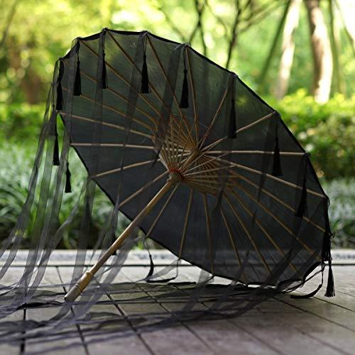 weichuang Paraguas con borlas chinas, cinta de seda, paraguas de Hanfu, paraguas...