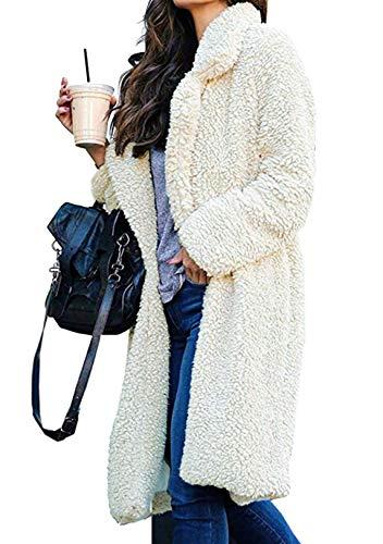 OMZIN Pelzmantel Damen Winter Mantel Warm Faux Fur Kunstfell Coat Winterjacke Grosse Grössen Elegant Fellmantel Wintermantel Weiß S