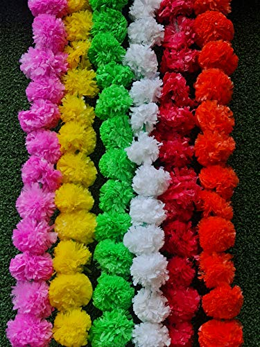 OMG-Deal 5 pack Mixed Artificial Marigold flower garlands 5 ft long- for use in parties, celebrations, Indian weddings, Indian themed event, decorations, house