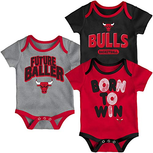 Outerstuff NBA Infants Little Fan 3 Piece Creeper Bodysuit Set (12 Months, Chicago Bulls)