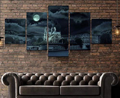 KOPASD 5 Arte de la Pared de la Lona Cuadros en Lienzo Atardecer Catedral católica Medieval de Notre-Dame de Paris Decoracion de Pared Salon,Dormitorio,Baño,Comedor (Sin tamaño de Marco 200x100cm)