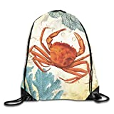 Lawenp Plegable Tropical Colorful Red Crab and Coral Drawstring Bag, Sports Cinch Sacks String Drawstring Backpack for Picnic Gym Sport Beach Yoga