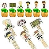 Hangnuo 72 piezas fútbol decoración de pasteles, cupcakes decoración con jugador, fútbol, goles para niños fiesta de cumpleaños, fiesta temática de fútbol para niños